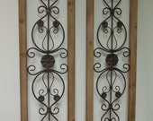 WALL ART SHUTTERS   Set of 2 incl in price . Wood and Metal . Fleur de lis .   Wall Decor .  Window and door toppers . Set in window