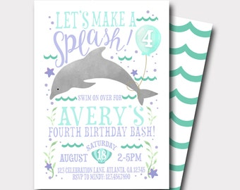 Dolphin Birthday Invitation | Pool Party Invitation | Beach BirthdayInvitation | Lets Make A Splash | Summer Birthday Invitation