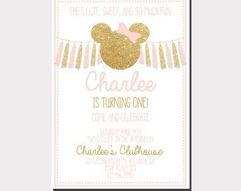 Minnie Mouse Birthday Invitation | Pink and Gold Minnie Mouse | Minnie Mouse Birthday Party