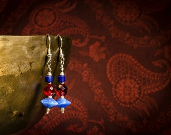 Earrings in blue and Red