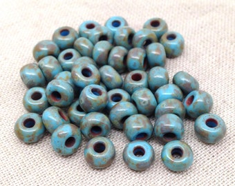 45 Blue Picasso Czech Glass Seed Beads 6mm