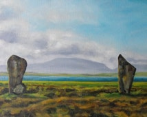 Original autumn landscape, impressionist style, panoramic format, oil on canvas, 12 X 24, Standing Stones, Orkney Islands, Scotland