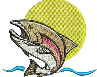 trout and sun Machine Embroidery Designs instantly download