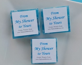 Blue Soap Favors - Baby Shower Favors - Bridal Shower Favors - Square Soaps - From My Shower to Yours