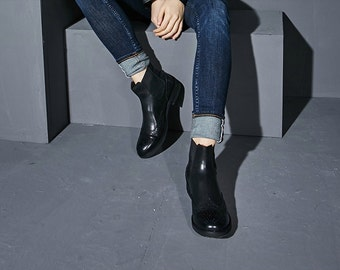 Black Oxford Leather Boots for Women -Black Lola - Handmade by WalkaholicS