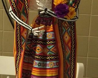 """Frida-La Grandiosa papermache sculpture doll 22"""""""