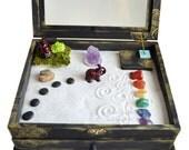 Zen Garden Meditation Box // MADE TO ORDER // Buddha Statue // Altar Kit // Metaphyscial Shrine // Wooden Box // Crystal Display // DiY Kit