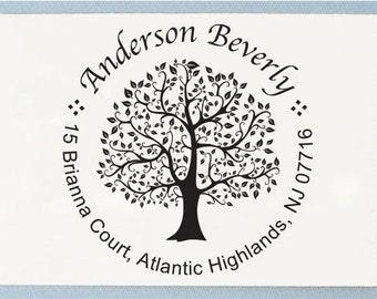 Custom Self Inking Return Address Stamp - Handle Mounted Round Tree Design Stamp - Personalized Address Stamp - R05