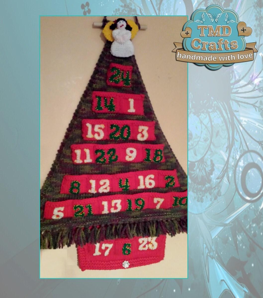 Advent Calendar Handmade Knitting : Knitted christmas tree advent calendar