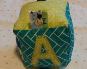 Soft fabric baby block toy with letter