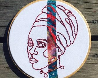Judith the Queen - Original hoop art