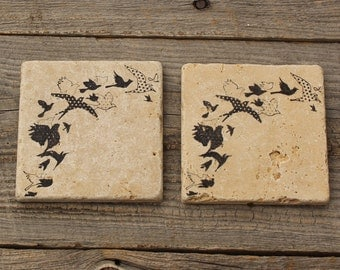 Flock of birds Stone Coaster set, Backsplash tile, Rustic Decor,  Travertine Tile coaster, Tumbled stone tile, drink coaster