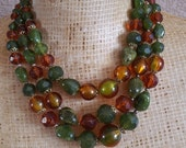 Vintage 1940s Lucite and Marblette Necklace, Triple Strand Necklace
