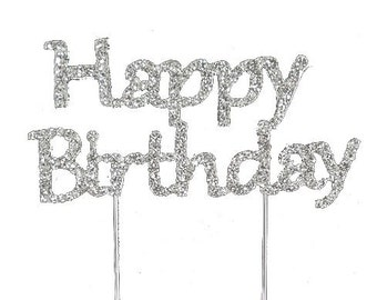 Happy Birthday Bling Cake Toppers Birthday Party Cake Topper Caketop Silver
