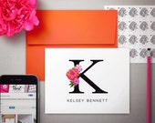 Personalized Stationary Set | Monogrammed Note Cards | Personalized Thank You Notes | FLORAL INITIAL | Folded Notecards