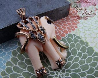 Cream Resin & Rhinestone Elephant Pendant, animal focal, rhinestone pendant, bohemian, jewelry making, beading supplies - reynaredsupplies