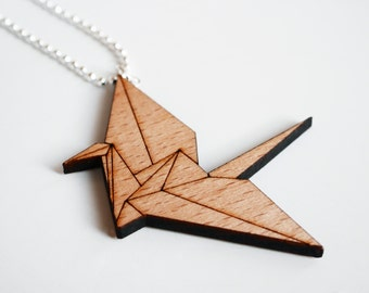 origami bird necklace