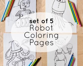 5 Robot Coloring Page Printables, Instant Download Digital File, Cyborg, Fun Robots
