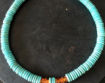 Turquoise and baltic amber necklace, turquoise necklace with baltic amber chips, baltic amber and round turquoise necklace, amber necklace