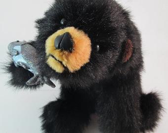 Handmade Sitting Black Bear Cub with Fish Wildlife Plush Stuffed Animal Toy