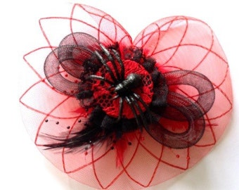 Red & Black Spider Fascinator