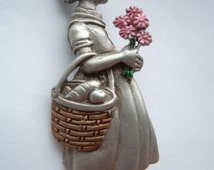 Vintage Signed JJ Silver pewter Little Girl holding Flowers Brooch/Pin