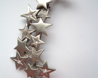 Vintage Signed JJ Silver pewter/AB Stones  Shooting Stars Brooch/Pin
