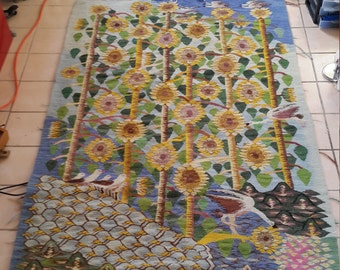 Handmade 6 1/4 x 4 wool rug or wall hanging. sunflower & bird motif