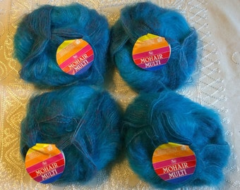4 x 50g mohair mix Filatura di Crosa yarn vintage turquoise