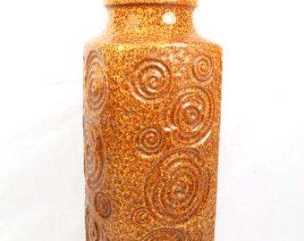 Vintage West German Vase Ceramic Pottery Mid Century Modern Scheurich Yellow Brown