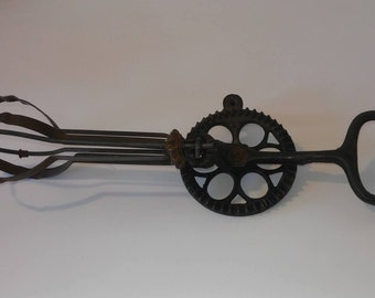 Antique Primitive Cast Iron Rotary Hand Beater Mixer