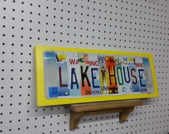 License Plate Sign License Plate letter Art Picture Home Deco LAKE HOUSE License Plate Letter Sign