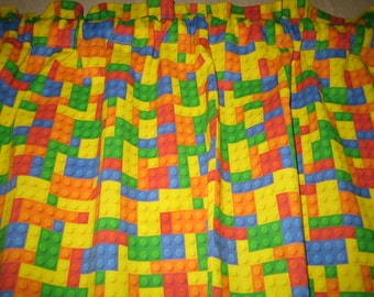 "LEGO blocks print curtain valance 40"" x 15"" in 100% cotton - Handmade new."