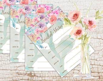 DIY Bridal Shower Invitation - Watercolor Floral - Bridal Shower Invite - Bridal Shower Card - Printable Digital File - Shabby Flowers
