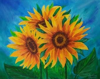 "Sunflowers - Original Acrylic Painting on Box Canvas - 11""x14"" - Impressionist"