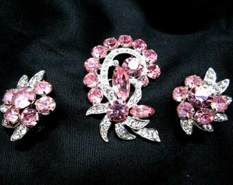 Vintage Eisenberg Ice Brooch and Earrings Set, Pink Clear Rhinestones, Clip On Earrings, Bright Sparkling, Signed Eisenberg Ice
