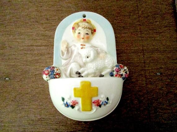 Goebel Childs Holy Water Font 424, Child with Lamb, Holy Water, Catholic Communion Christening Baptism Gift, Goebel, West Germany