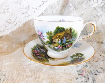 Lovely Vintage Royal Vale Tea Cup and Saucer, Lovely English Thatched Cottage, Ridgeway Potteries, Made In England