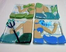 Mermaid Tails Fused Glass Trinket Dish