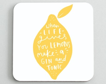 Lemon Gin and Tonic Coaster - Lemon Coaster - Gift For Friends - CO24