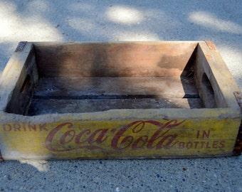 Coke Crate Coca Cola Vintage Wooden Crate Yellow #5