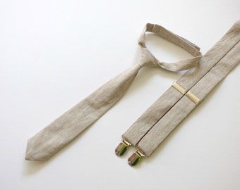 Khaki linen necktie and suspenders, boy baby Easter outfit, toddler boy ties and suspenders, kids necktie  - made to order