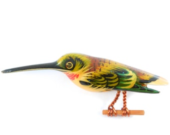 Hand Painted Original Takahashi Hummingbird Brooch