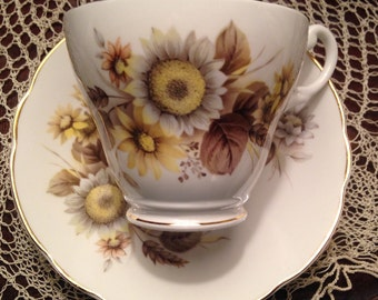 Royal Ascot Sunflower and Wheat Teacup and Saucer