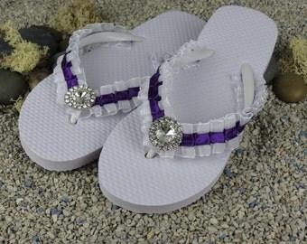 Bridal Flip Flops Wedding Flip Flops White Purple Flip Flops Rhinestone Ribbon Pearl Bridsmaid  Flip Flops
