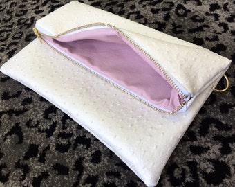 Pearlized White Ostrich Fold Over Clutch