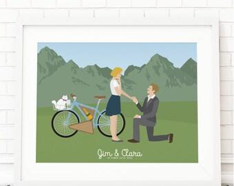 Custom Engagement Portrait- Engagement Portrait - Couple Portrait - PAPER Print