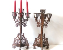 French Antique Wood Candle Holders Cut Out Wood Home decor 19th Set of 2 Candelholders
