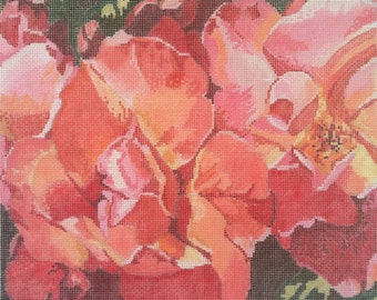 Rose hand painted canvas