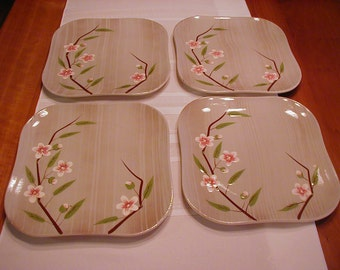 Lovely 10 square plates taupe background pink flowers and brown branches. Birchwood pattern hand decorated Weil Ware made in California